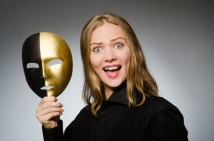 47652182 - woman with mask in funny concept